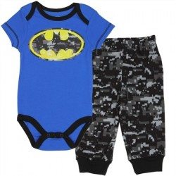 DC Comics Batman Blue Onesie With Yellow Bat Logo With Grey Camo Pants