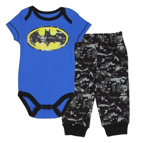 DC Comics Batman Blue Onesie With Yellow Bat Logo With Grey Camo Pants Free Shipping Houston Kids Fashion Clothing Store