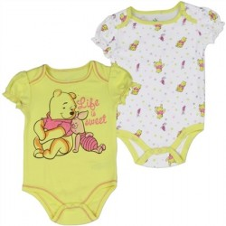 Disney Winnie The Pooh Life Is Sweet Yellow Onesie Plus White Onesie