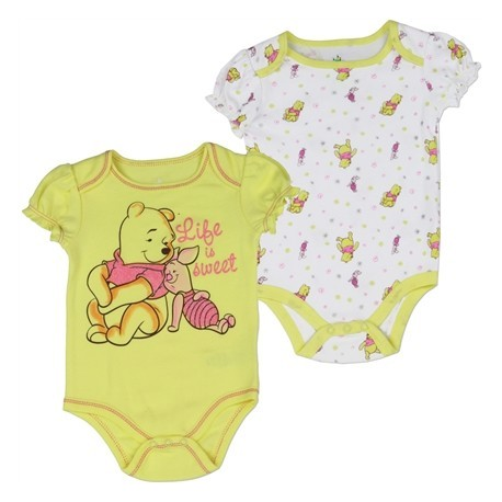 Disney Winnie The Pooh Life Is Sweet Yellow Onesie With Pooh Bear And Piglet Plus White Onesie