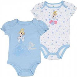 Disney Cinderella Blue I'm A Little Princess Onesie and White Cinderella Onesie