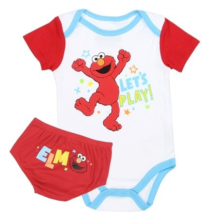 Sesame Street Elmo Let's Play White Onesie With Red Diaper Cover