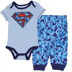DC Comics Superman Light Blue Onesie With Camo Sheild And Matching Blue Camo Pants