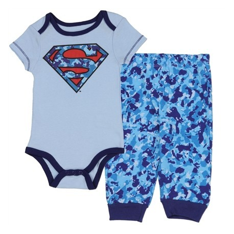 DC Comics Superman Light Blue Onesie With Camo Sheild And Matching Blue Camo Pants