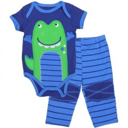 Buster Brown Blue Baby Onesie With Green Alligator With Matching Pants