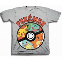 Pokemon Pokeball Silver Boys Short Sleeve T Shirt