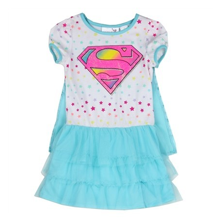 DC Comics Supergirl White Dress With Blue Detachable Cape And Ruffles