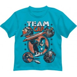 Marvel Comics Captain America Civil War Turquoise Team Cap Boys Shirt