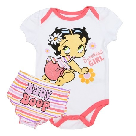 Betty Boop Sweetest Girl White Onesie With Multi Striped Diaper Cover Houston Kids Fashion Clothing