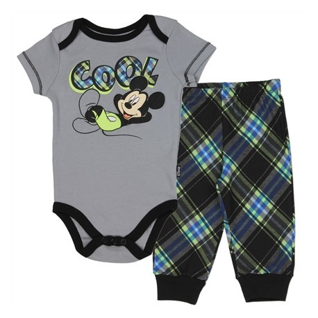Disney Mickey Mouse Cool Grey Creeper With Plaid Pants Set Houston Kids Fashion Clothing Store