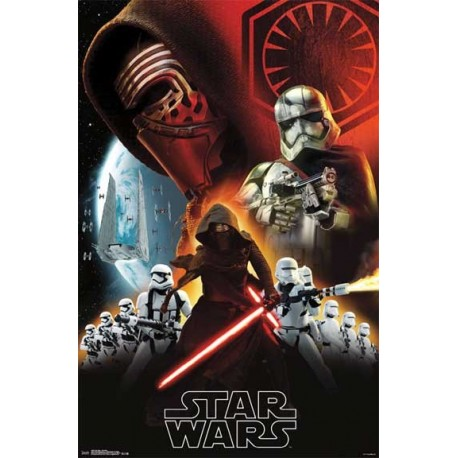 Disney Star Wars Th Force Awakens Kylo Ren and Stormtroopers Dark Side Wall Poster Houston Kids Fashion Clothing
