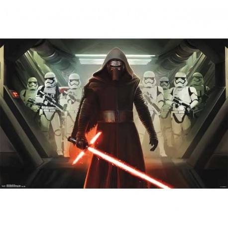 Disney Star Wars The Force Awakens Kylo Ren With Stromtroopers Poster