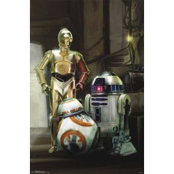 Star Wars The Force Awaken BB8 R2D2 and C3PO Droid Poster