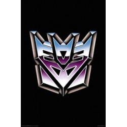 Transformers Silver Logo Decepticons On A Black Back Ground Wall Poster