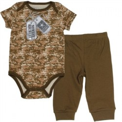 US Army Brown Camo Infant Onesie With Brown Pants
