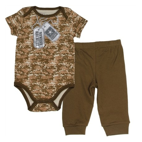 US Army Brown Camo Newest Recruit Onesie With US Army Dog Tag With Army Green Pants Houston Kids Fashion Clothing Store