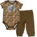 US Army Camo Onesie with Newest Recruit Dog Tag And US Arm Dog Tag With Brown Pants