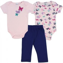 Little Beginnings 3 Piece Butterfly Onesies And Pants Set