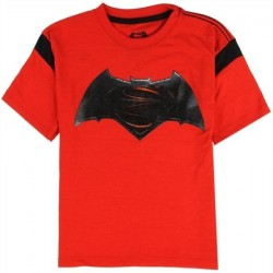 DC Comics Batman vs Superman Bat Signal And Superman's Logo Red Boys T Shirt