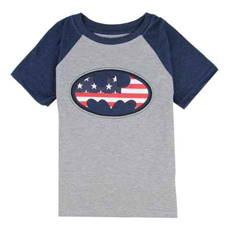 DC Comics Batman Red White And Blue Bat Signal Boys Shirt FRee Shipping Houston Kids Fashion Clothing Store