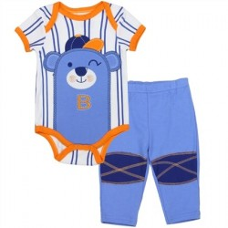 Buster Brown White and Blue Stripe Onesie With Bear And Blue Pants