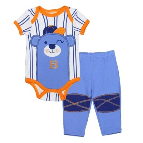 Buster Brown White and Blue Stripe Onesie With Bear And Blue Pants Houston Kids Fashion Clothing