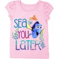 Disney Finding Dory Sea You Later Pink Puff Sleeve Shirt
