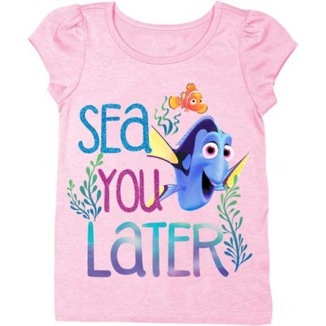 Disney Pixar Finding Dory Sea You Later Light Pink Toddler Puff Sleeve Shirt