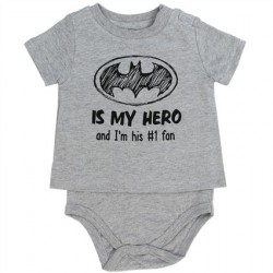 DC Comics Batman Is My Hero Heather Grey T Shirt Onesie