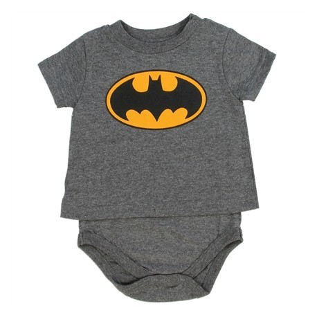 DC Comics Batman Heather Charcoal T Shirt Onesie With Bat Signal