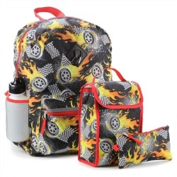 Confetti 5 Piece Flaming Cars Boys School Backpack Houston Kids Fashion Clothing Store