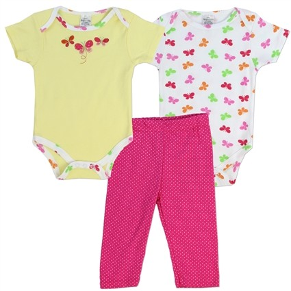Little Beginnings 3 Butterfly Onesies And Pink Pants