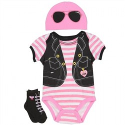 Nuby Pink and White Striped Onesie Pink Hat and Black Socks