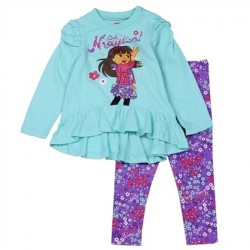 Nick Jr Dora The Explorer Que Majico High Low Long Sleeve Shirt With Printed Leggings At Kids Fashion