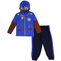 Nick Jr Paw Patrol Chase Toddler Blue Hooded Masked Long Sleeve Top With Fleece Pants