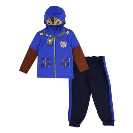 Nick Jr Paw Patrol Chase Toddler Blue Hooded Masked Long Sleeve Top With Fleece Pants at Kids Fashion Clothing