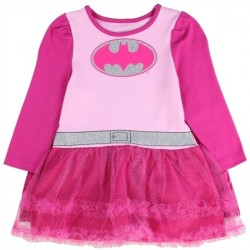 DC Comics Batgirl Pink Long Sleeve Dress With Pink Tutu And Pink And Silver Bat Signal And Cape