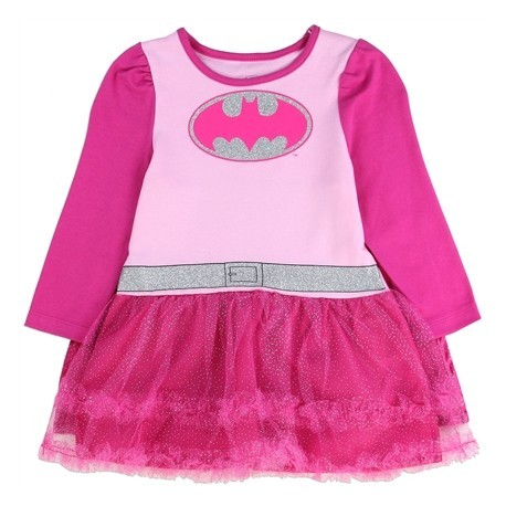 DC Comics Batgirl Pink Long Sleeve Dress With Pink Tutu And Pink And Silver Bat Signal At Kids Fashion Clothing