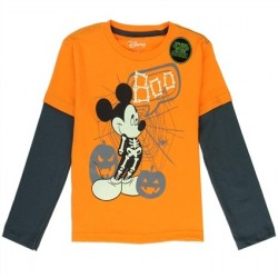 Disney Mickey Mouse Boo Orange Long Sleeve Charcoal Glow In The Dark Long Sleeve Shirt