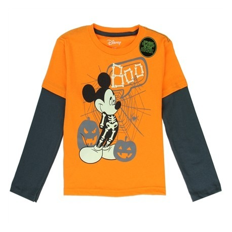 Disney Mickey Mouse Boo Orange Long Sleeve Charcoal Glow In The Dark Long Sleeve Shirt At Houston Kids Fashion Clothing