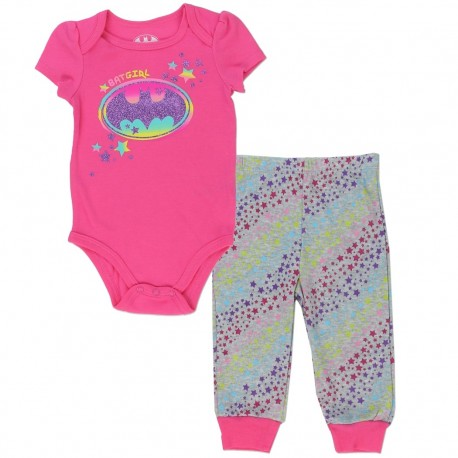 DC Comics Batgirl Pink Onesie With Multi Colored Bat Signal And Star Covered Pants At Kids Fashion Clothing