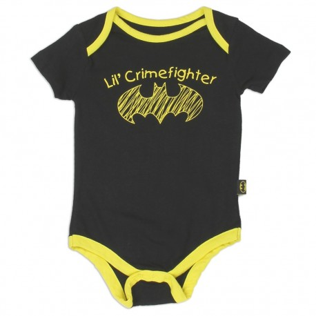 DC Comics Batman Lil Crimefighter Black Baby Onesie Free Shipping Houston Kids Fashion Clothing