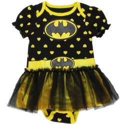 DC Comics Batgirl Black Onesie With Yellow Hearts and Black And Yellow Tutu Houston Kids Fashion Clothing