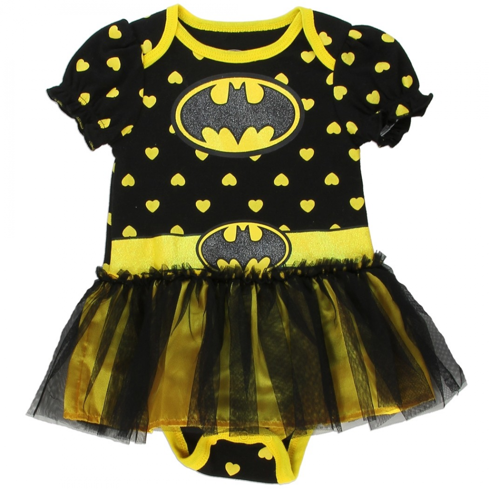 7b59e5d4e DC Comics Batgirl Black Girls Onesie With Yellow Hearts and Tutu Free  Shipping Houston Kids Fashion. Loading zoom