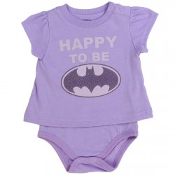 DC Comics Batgirl Happy To Be Batgirl Purple Onesie T Shirt Houston Kids Fashion Clothing