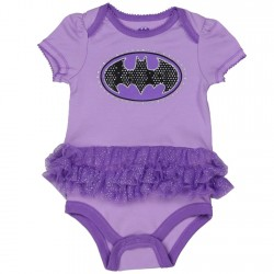 DC Comics Batgirl Purple Onesie With Black Bat Signal