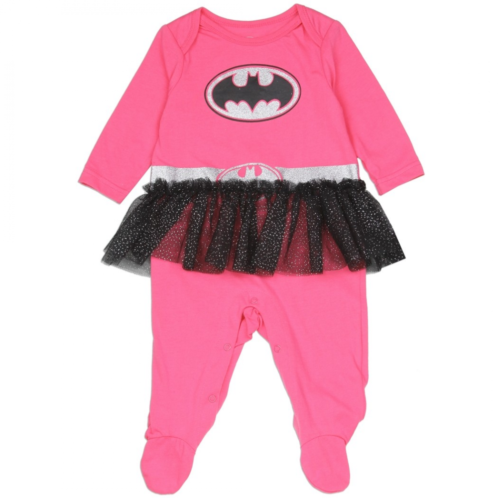Batgirl pink costume footed sleeper with tutu batgirl baby clothes