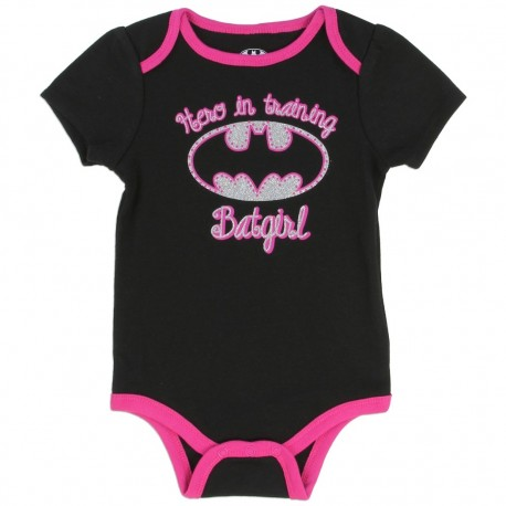 DC Comics Batgirl Hero In Training Black Onesie With Pink Trim Houston Kids Fashion Clothing