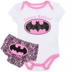 DC Comics Future Batgirl Pink and White Onesie With Batgirl Bat Signal Diaper Cover