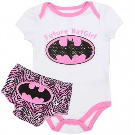 DC Comics Future Batgirl Pink and White Onesie With Batgirl Bat Signal Diaper Cover Kids-Fashion-Clothing